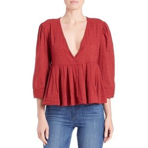 Free People Pepplum V-Neck Blouse
